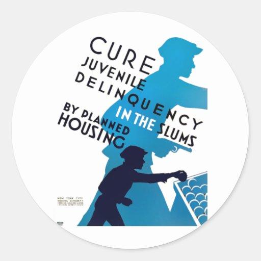 Cure juvenile delinquency in the slums round sticker zazzle for Stickers juveniles
