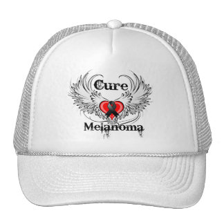 Cure Melanoma Heart Tattoo Wings Hat
