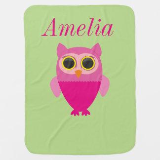 Curios pink owl baby blanket