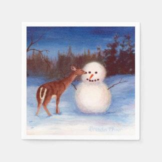 Curiosity Deer and Snowman Paper Napkins