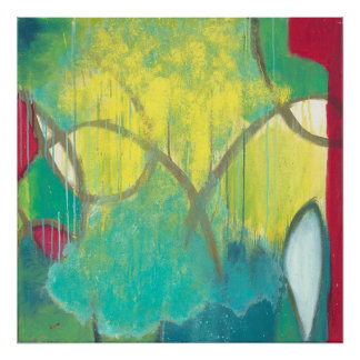 Curiosity - Green, red, and yellow Abstract art Poster
