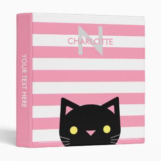 Curious Black Cat Custom Name & Initial 3 Ring Binders