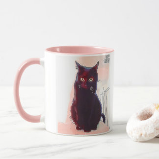 Curious Black Cat mug