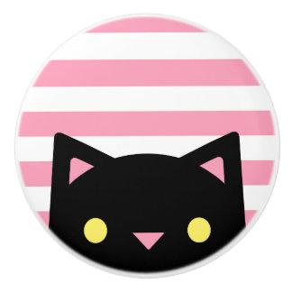 Curious Black Cat | Stripes | Pink & White Ceramic Knob