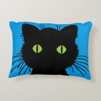 Curious Black Cat with Large Green Eyes Decorative Pillow