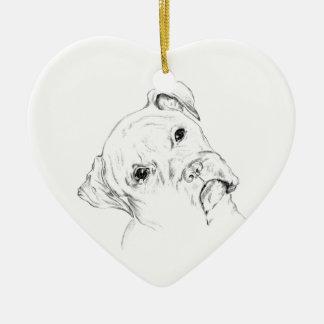Curious Boxer Pup Ceramic Ornament
