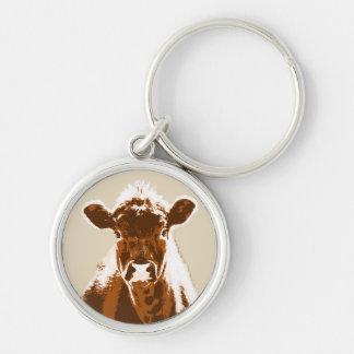 Curious Brown Cow Farm animal Keychain