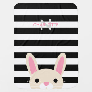 Curious Bunny | Stripes | Monogram Baby Blanket