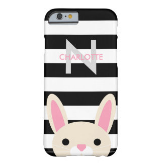 Curious Bunny | Stripes | Monogram Barely There iPhone 6 Case