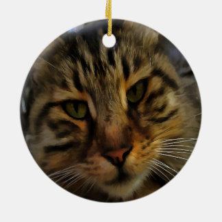 Curious Cat Ceramic Ornament