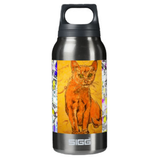 curious cat drip painting insulated water bottle