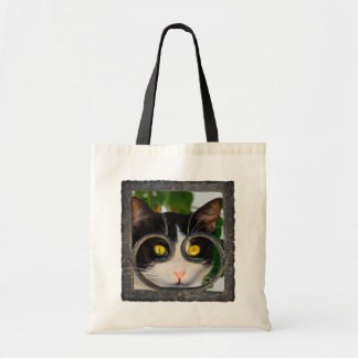Curious Cat with Spectacles Frame Funny Pet Photo Tote Bag