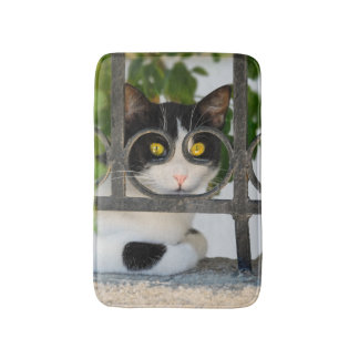 Curious Cat with Spectacles Frame Funny soft small Bathroom Mat