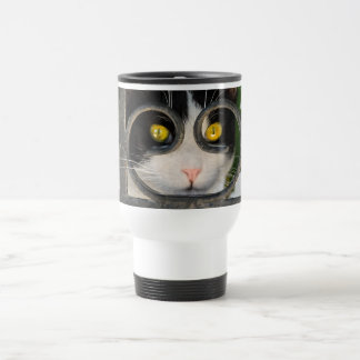 Curious Cat with Spectacles Frame Funny Thermo Cup