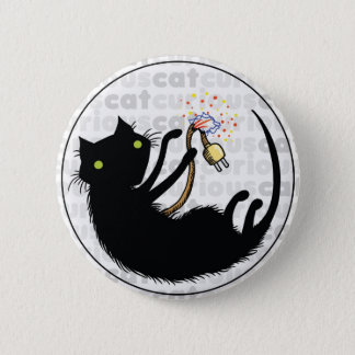 Curious Cat with Wire 2 Inch Round Button