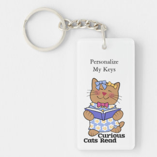 Curious Cats Read Girl Keychain