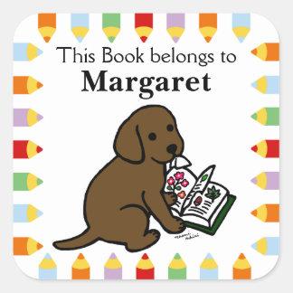 Curious Chocolate Labrador Puppy Square Sticker