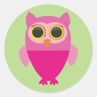 Curious cute owl. classic round sticker