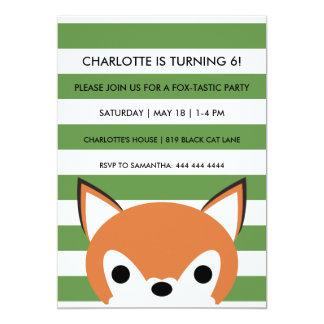 "Curious Fox | Green Stripes | Birthday Party 5"" X 7"" Invitation Card"