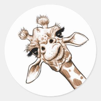 Curious Giraffe Art Classic Round Sticker