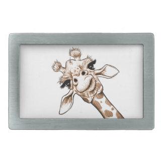 Curious Giraffe Art Rectangular Belt Buckle