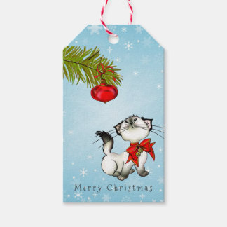 Curious Kitty Cat In A Red Christmas Bow Pack Of Gift Tags