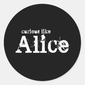 Curious Like Alice Black Sticker