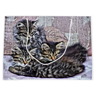 Curious little kitten large gift bag