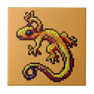 Curious Orange Lizard Blue Stripe Pixel Ceramic Tile