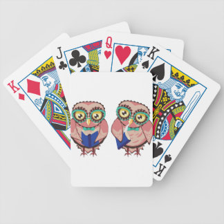 Curious Owl in Teal Glasses2 Bicycle Playing Cards