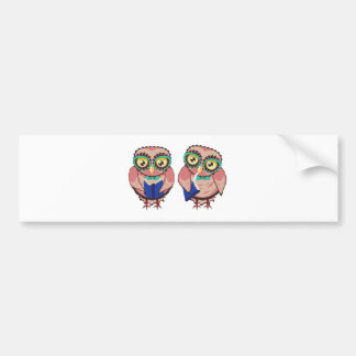 Curious Owl in Teal Glasses2 Bumper Sticker