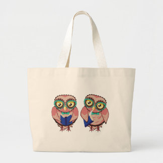 Curious Owl in Teal Glasses2 Large Tote Bag