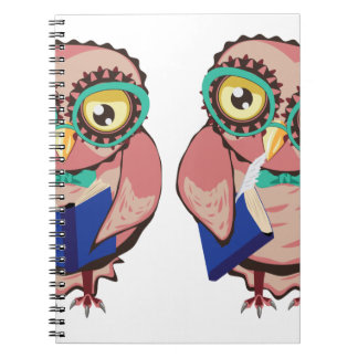 Curious Owl in Teal Glasses2 Spiral Note Book