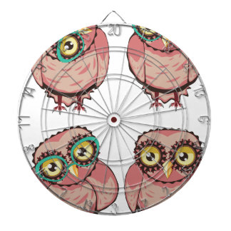 Curious Owl in Teal Glasses Dartboard