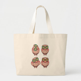 Curious Owl in Teal Glasses Large Tote Bag