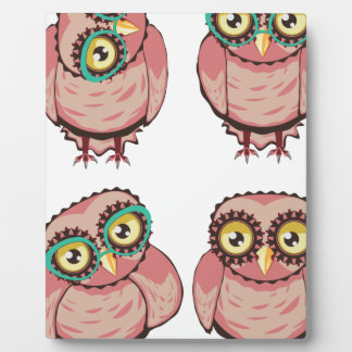 Curious Owl in Teal Glasses Plaque