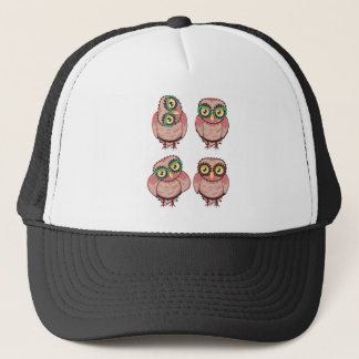 Curious Owl in Teal Glasses Trucker Hat