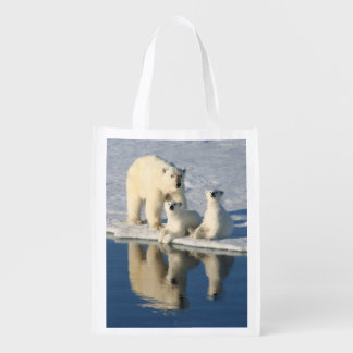 Curious Polar Bear Family Reusable Grocery Bag