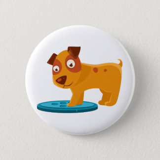 Curious Puppy Stepping On Trapdoor 2 Inch Round Button