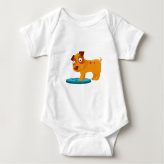 Curious Puppy Stepping On Trapdoor Baby Bodysuit