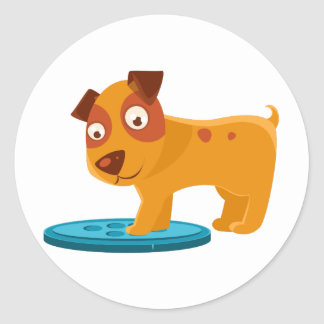 Curious Puppy Stepping On Trapdoor Classic Round Sticker
