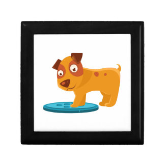 Curious Puppy Stepping On Trapdoor Gift Box