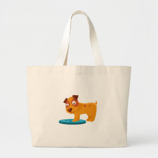 Curious Puppy Stepping On Trapdoor Large Tote Bag