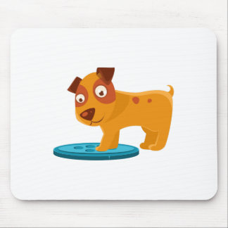 Curious Puppy Stepping On Trapdoor Mouse Pad