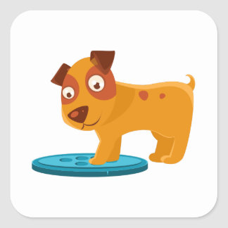 Curious Puppy Stepping On Trapdoor Square Sticker