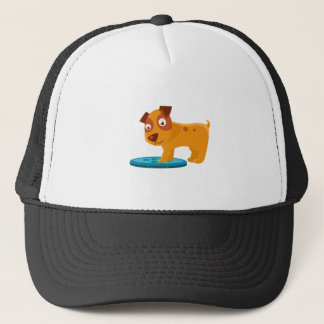 Curious Puppy Stepping On Trapdoor Trucker Hat