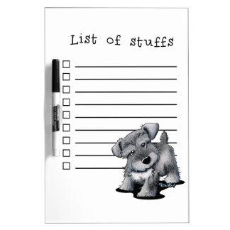 Curious Schnauzer Dry Erase List Dry Erase Board