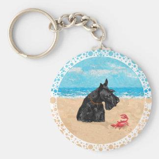 Curious Scottie at the Beach Basic Round Button Keychain
