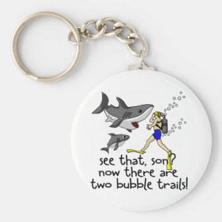 Curious Sharks Basic Round Button Keychain