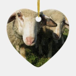 Curious sheep ceramic heart ornament